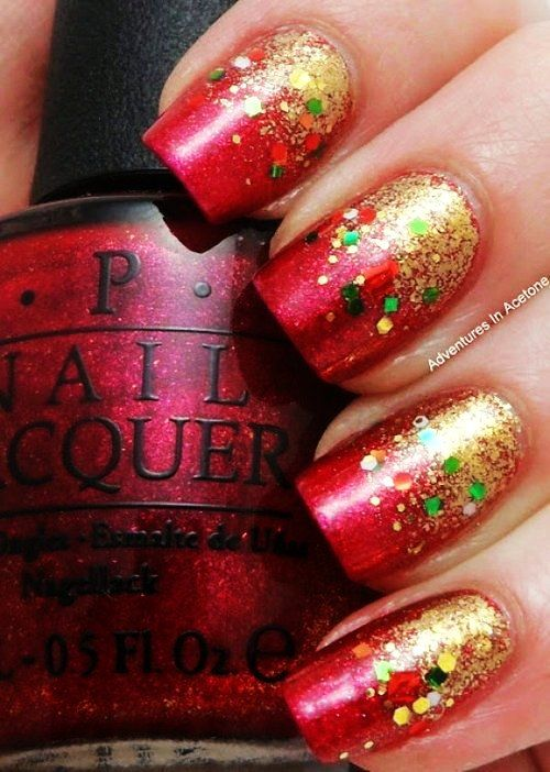 Ombre Glitter Christmas Nail Art , Dip Dye Colorful Glitter