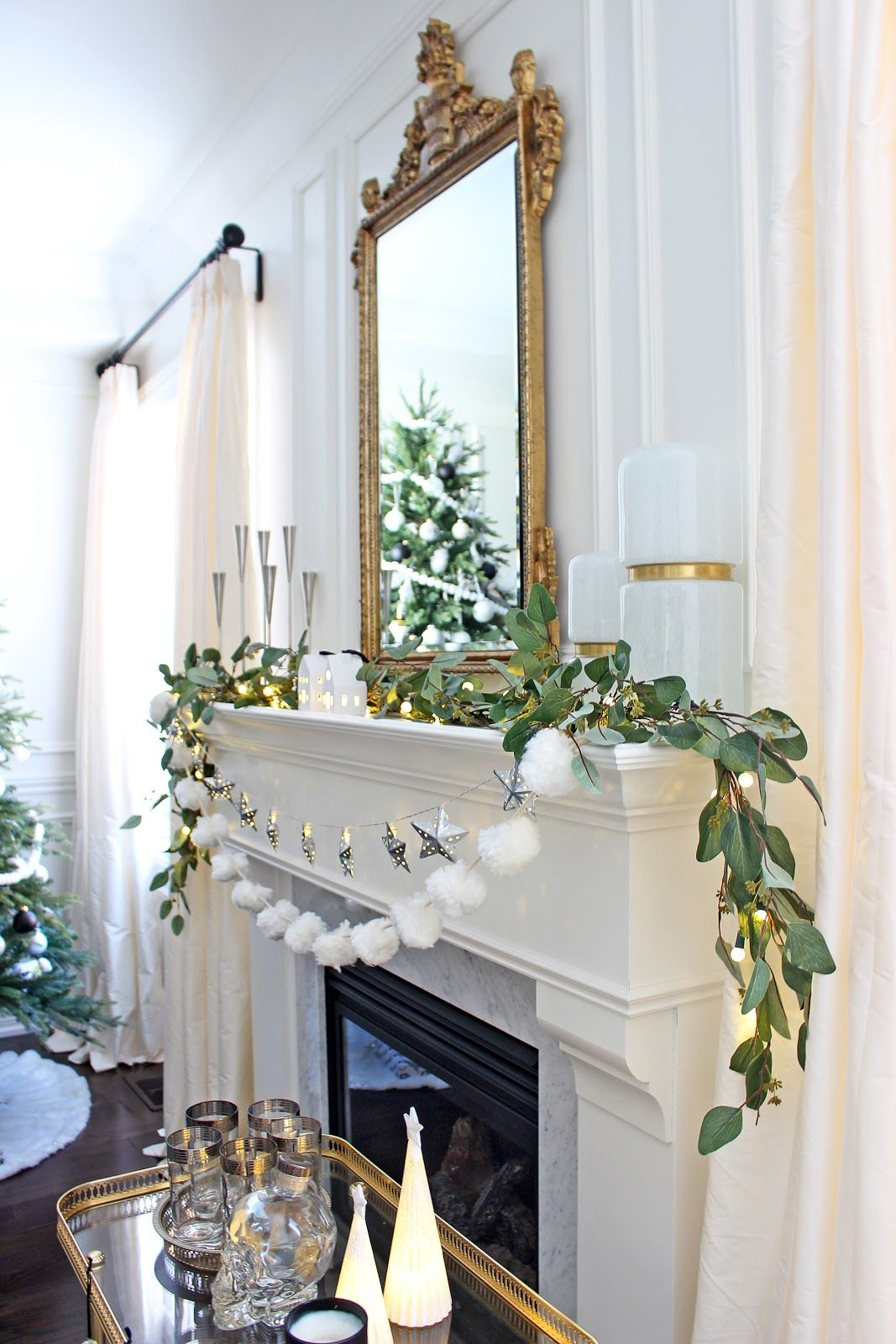 Winter mantel decor Christmas Tree in living room, Crate and Barrel ...