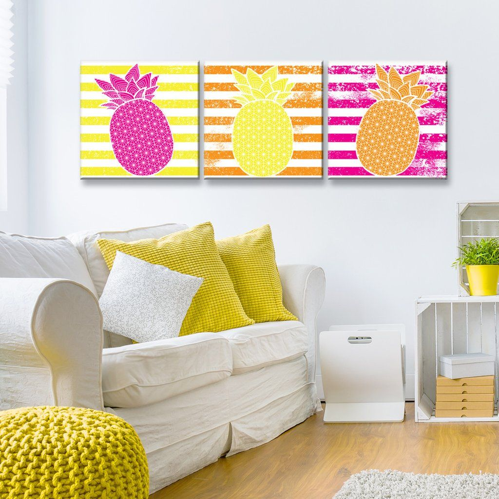 Starburst Pineapple III-B\' 3-PC Wrapped Canvas Art Set | Wrapped ...