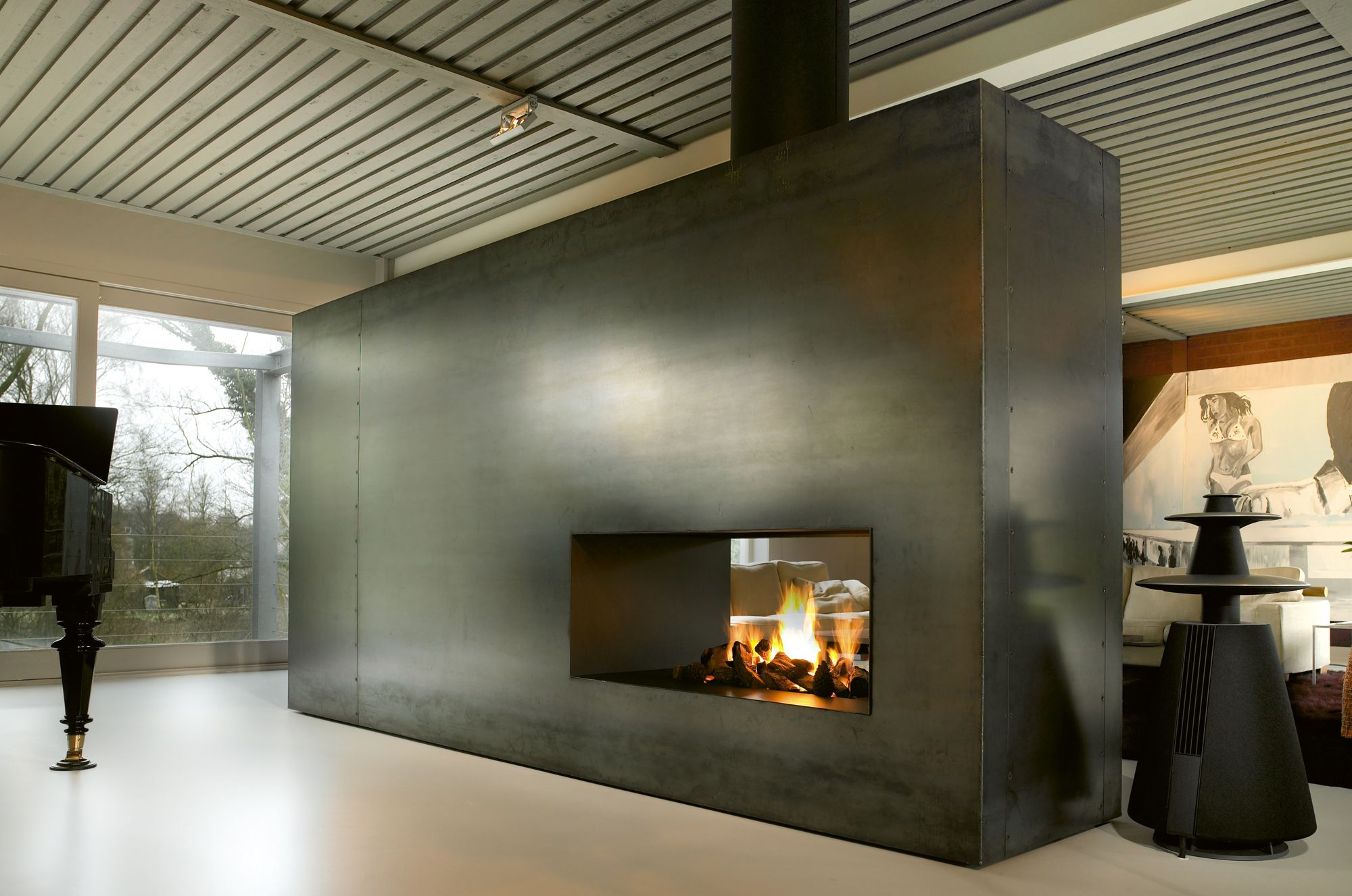 monolithic industrial fireplace double sided fireplace 840br t