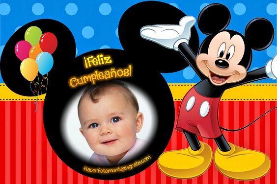 Fotomontaje De Feliz Cumpleaños Con Mickey Mouse En 2020