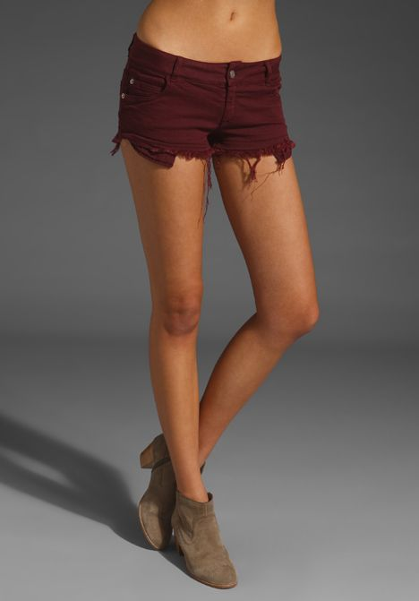 BRANDY MELVILLE Jean Shorts in Burgundy at Revolve Clothing ...