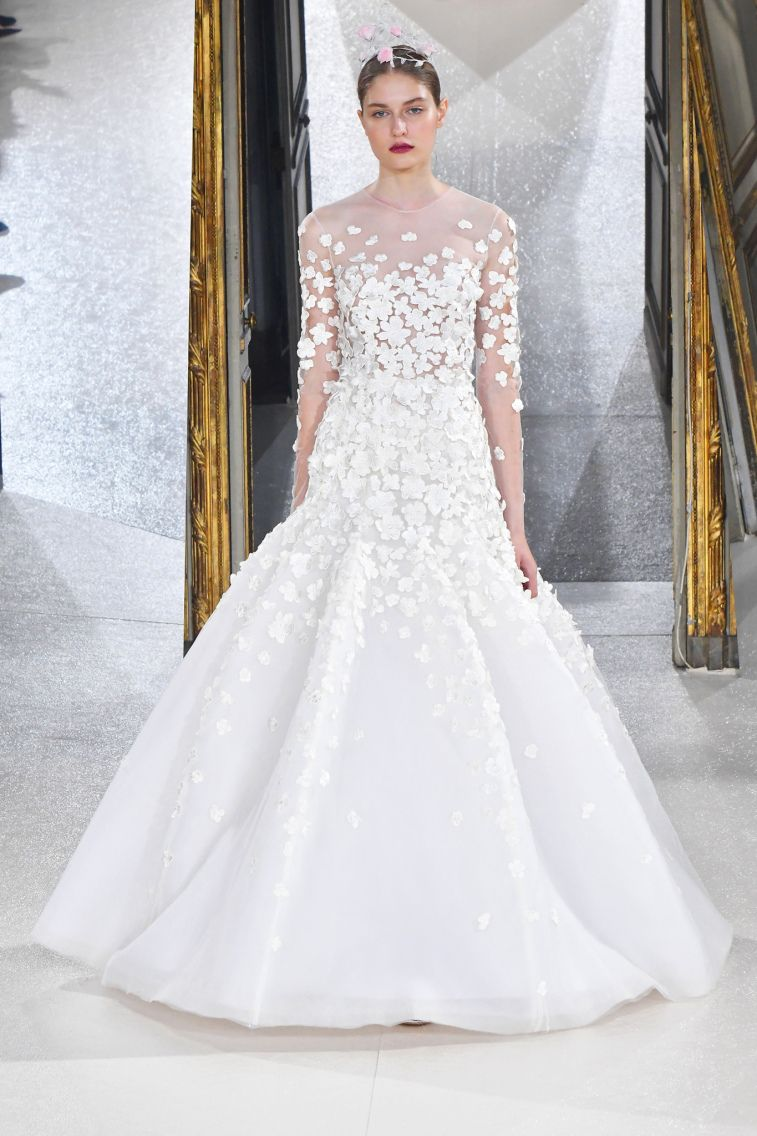 Kaviar Gauche Spring 2018 Wedding Dresses La Vie En Rose long sleeves neckline floral applique trumpet ball gown wedding dress #weddingdress #weddinggown #floralapplique