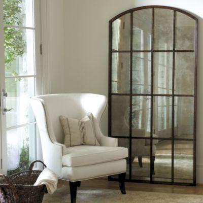 Amiel Arch Aged Brown Antiqued Mirror Arched Window