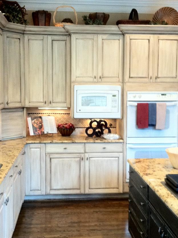 Light (whitewash) cabinets, medium counter top, dark floor. Too ...