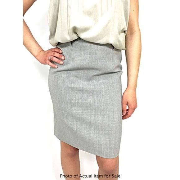 WORTH Sharkskin Gray Wool Pencil Skirt
