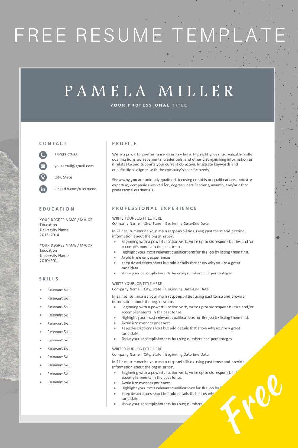 Free Resume Template Resume template free, Downloadable