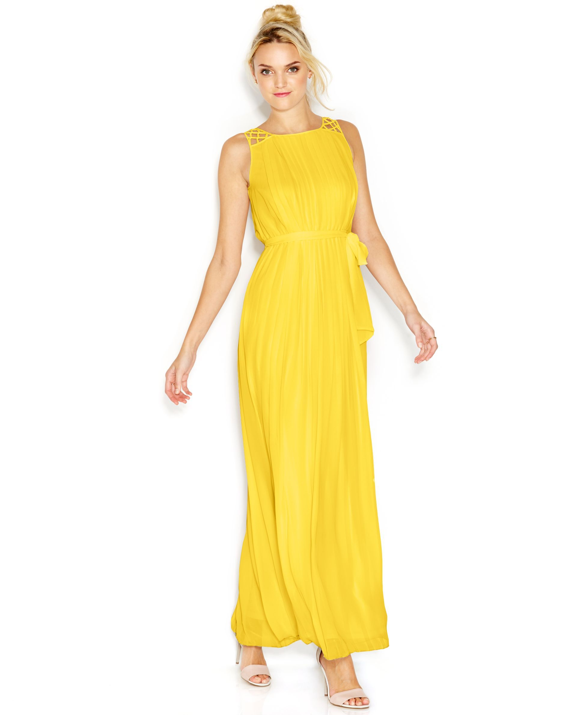 Yellow dress wedding guest  Jessica Simpson CrochetStrap Pleated Maxi Dress  Products