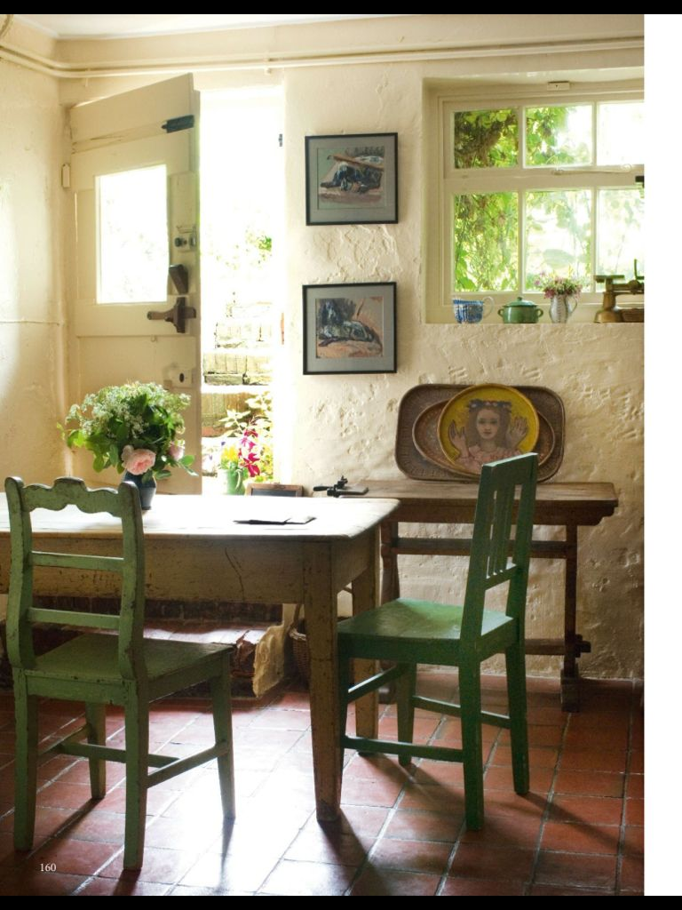 Chairs door window light walls space open floor monk 39 s house english country cottage - English cottage kitchen designs ...