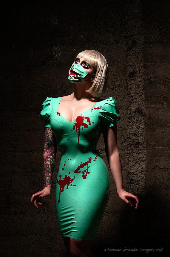 Blood Spattered Latex Medical Mask by VitalVeinFashion on Etsy