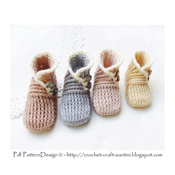 Wrap and Button Baby Booties - 0-24 Months - One-Piece Crochet ...
