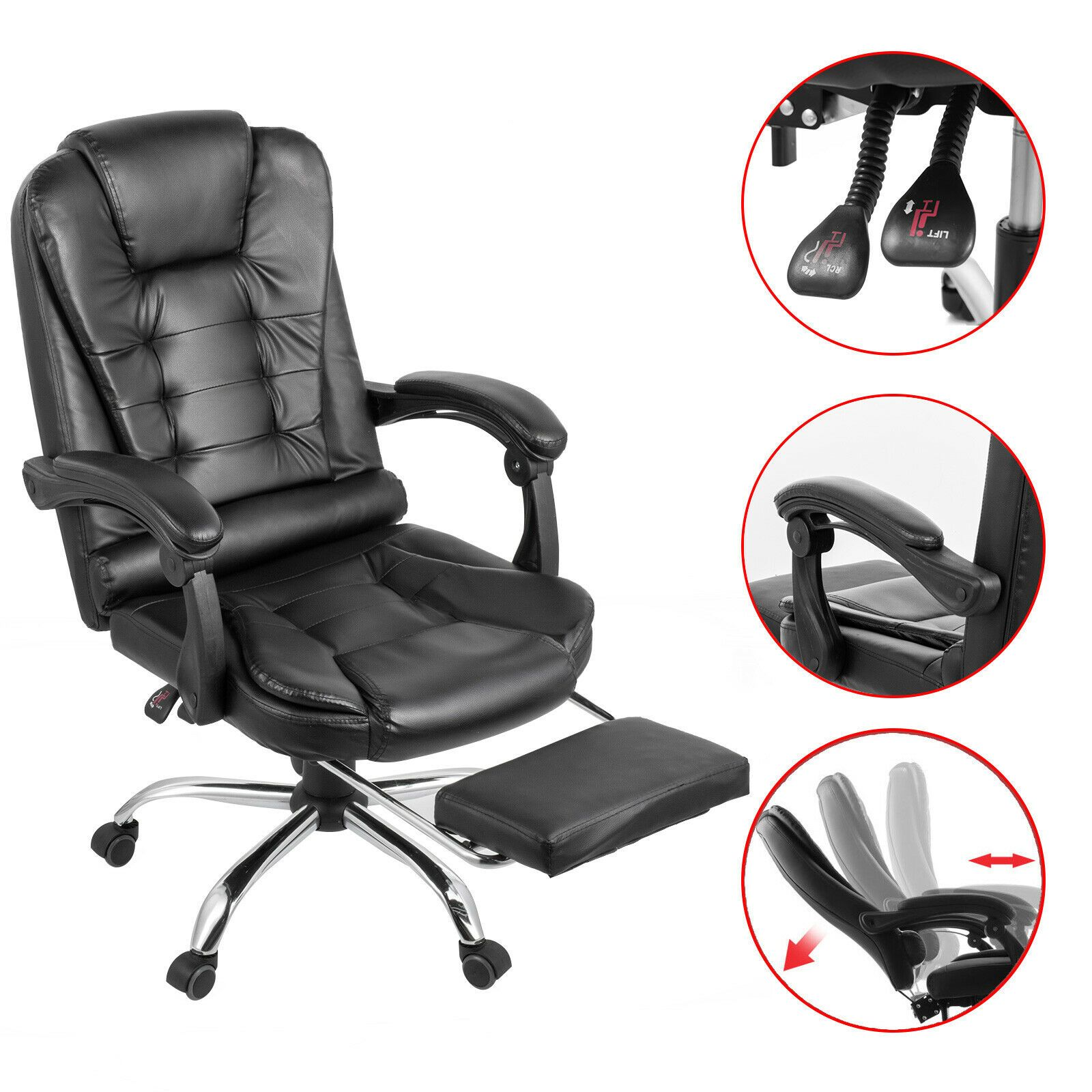 Executive Reclining Office Chair Ergonomic High Back Leather Footrest Armchair In 2020 Luxury Arm Chair Reclining Office Chair Executive Office Chairs