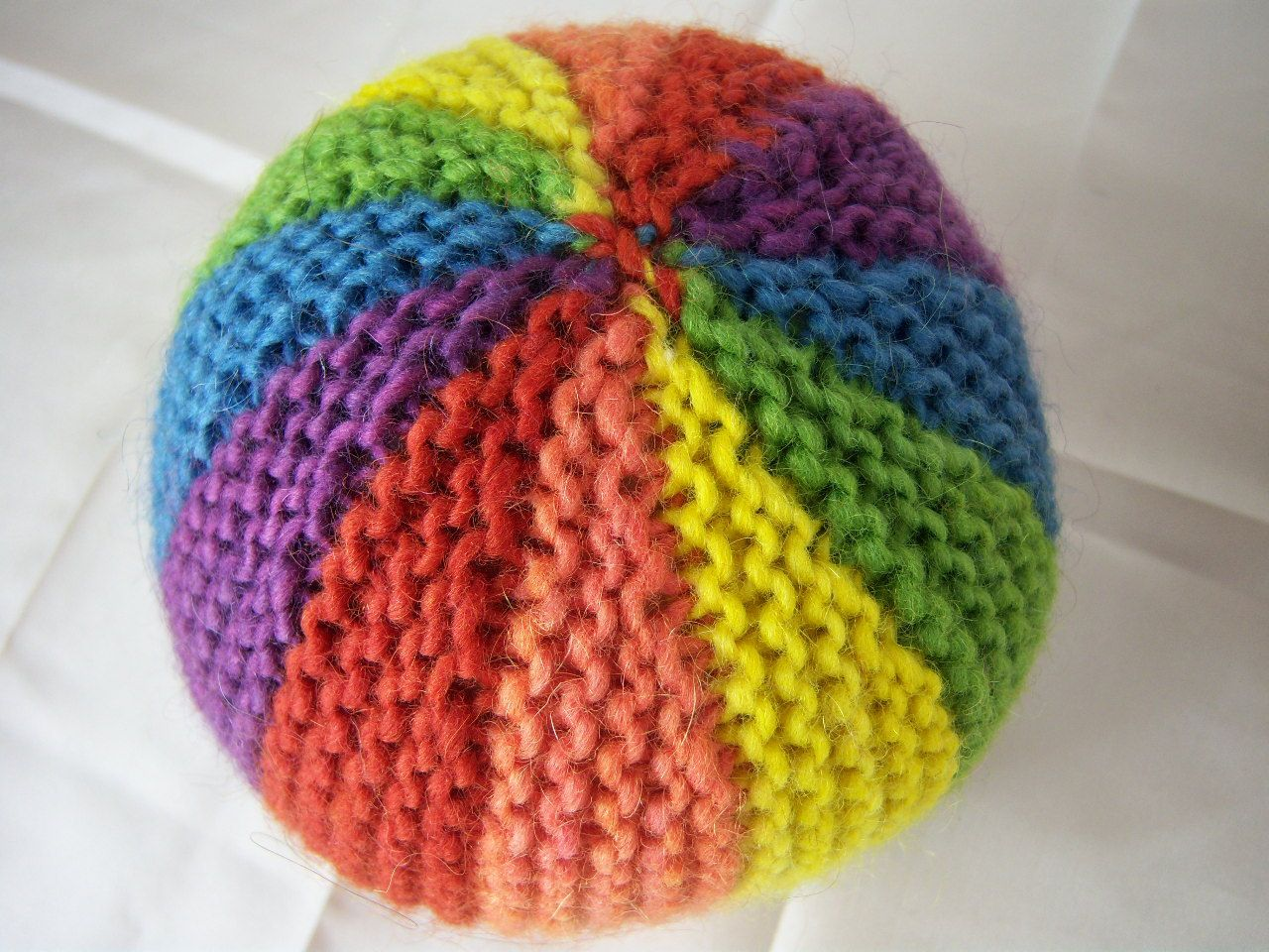 Rainbow Plant Dyed Wool Knitted Waldorf Ball Toy A Great Baby Toddler Gift. $16.00, via Etsy.