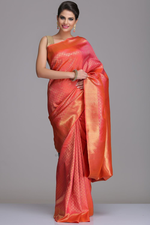 2e46a569b4 Pink And Orange Dual-Shaded Kanjivaram Pure Silk Saree With Gold Zari  Motifs And Border & Pallu With Real Zari