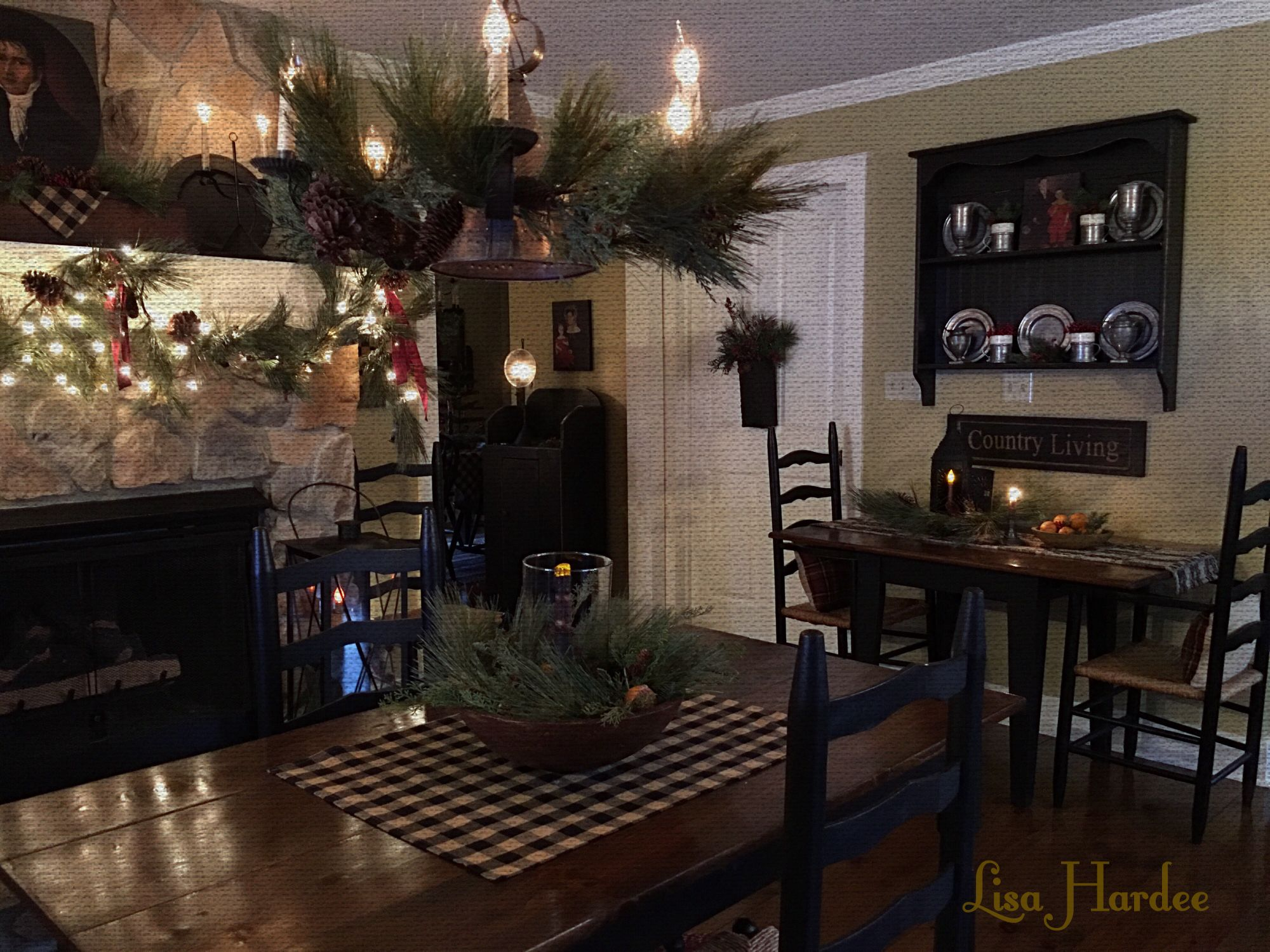 Primitive Colonial Keeping Room Table By Fireplace Lisa