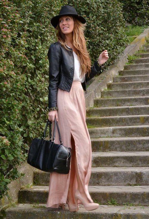 Ce look rock chic avec cette petite veste en cuir longue jupe fluide et sexy blouson en cuir - Tenue avec jupe en cuir ...