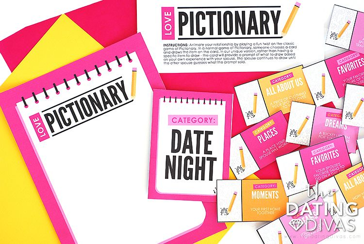 Love Pictionary Game From Dating divas, Couples game