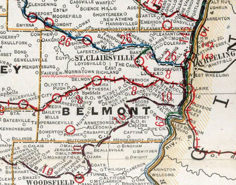 Belmont county ohio 1901 map st clairsville