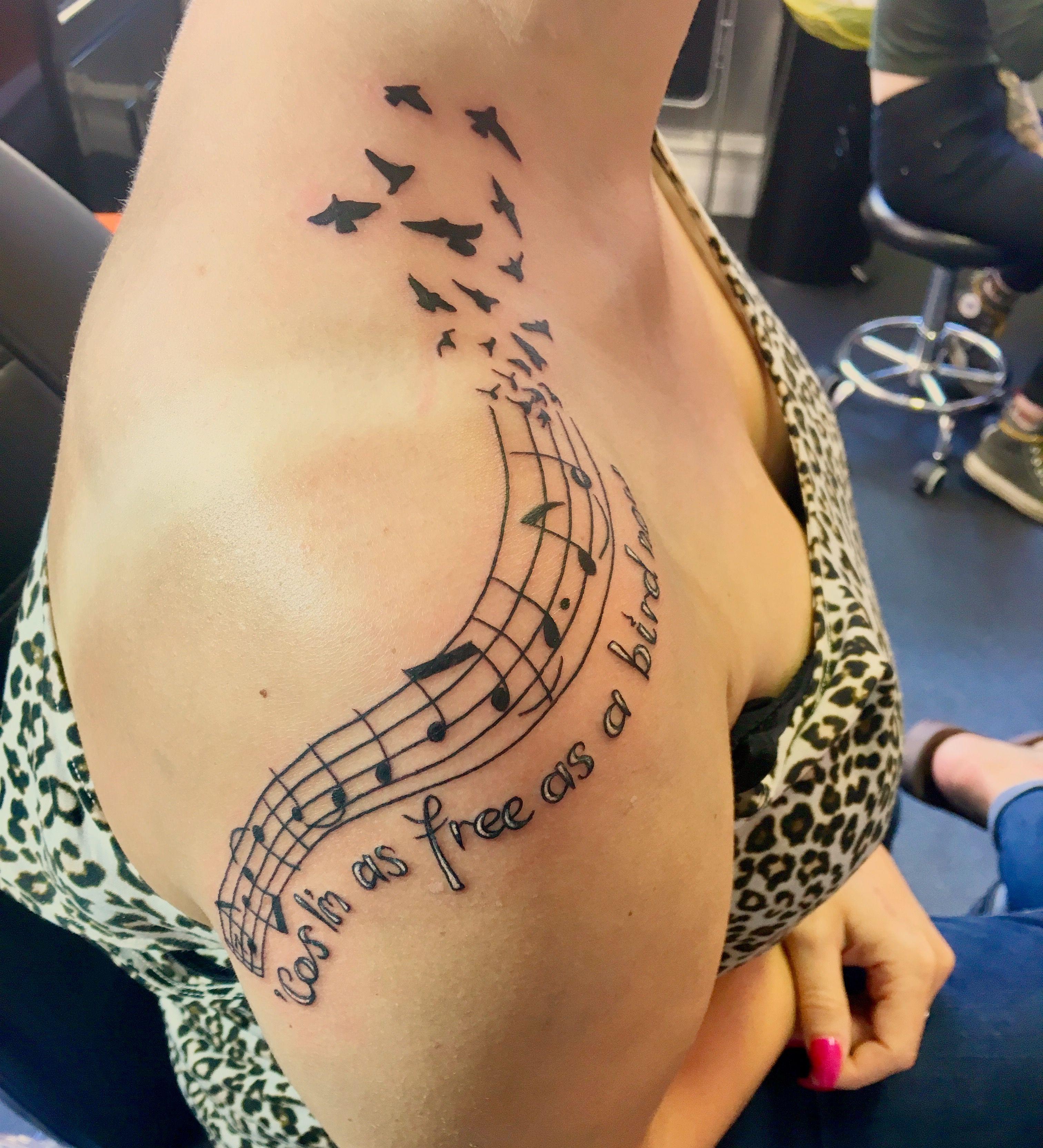 freebird by lynyrd skynyrd is my favourite song tattoo done by adam