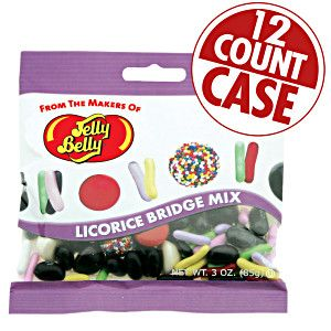 2.3 lb case of Licorice Bridge Mix from Jelly Belly. Variety of licorice candy including pastels. buttons and more. Licorice