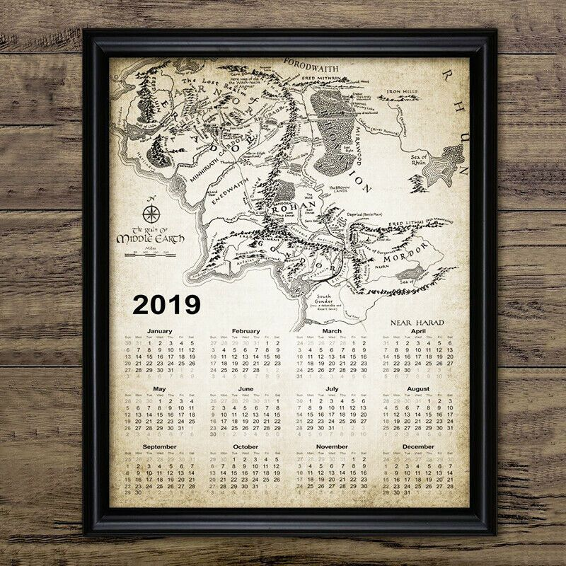 Lord Of The Rings Calendar 2019 Vintage Art Canvas Poster Print Map Home Decor Fashion Home Garden Homedc With Images Poster Prints Canvas Poster Calendar 2019 Vintage