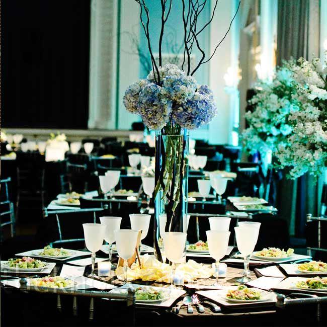 Blue Flower Centerpieces For Weddings: Tall Hydrangea Centerpiece