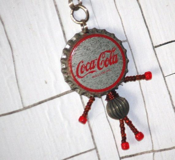 Vintage Coca Cola Bottle Cap Necklace by VeryModernMary on Etsy, $26.00