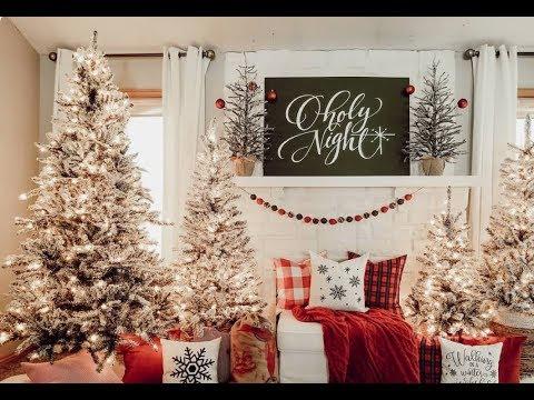 (3395) CHRISTMAS HOME TOUR   FARMHOUSE CHRISTMAS   2019   BALSAM HILL   FLOCKED TREE - GARLAND - WREATHS - YouTube