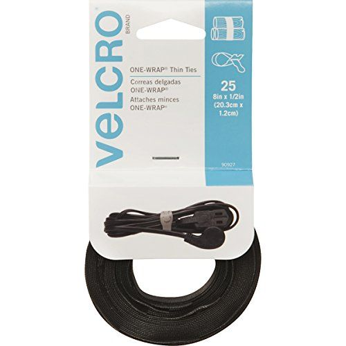 Velcro Brand One Wrap Cable Management Thin Self Gripping Cable Ties Reusable Light Duty 8 X 1 2 Ties 25 Ct B Thin Tie Cable Ties Velcro