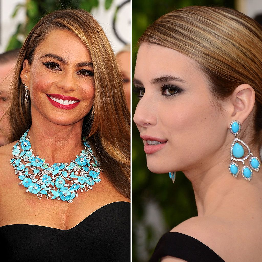 Sofia Vergara And Emma Roberts At The Golden Globes Blue Jewelry Trend