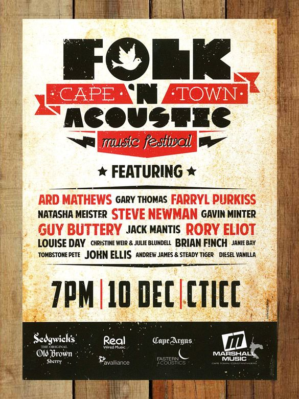 The Cape Town Folk U0027n Acoustic Music Festival Flyer | Festival