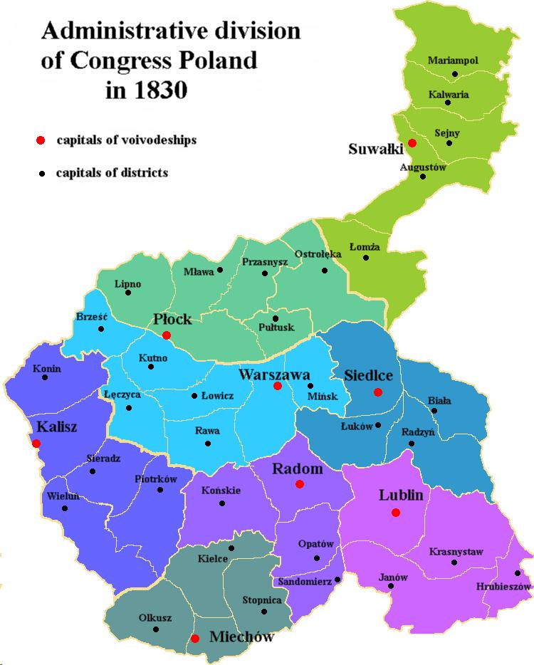 administrative division of congress poland wikipedia