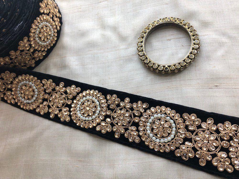 Black Velvet Embroidered Trim,Indian