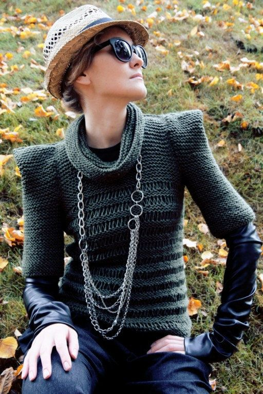 Olive green jumper - interesting silhouette. This Etsy seller has interesting  stuff, but the photos don't show it off well.