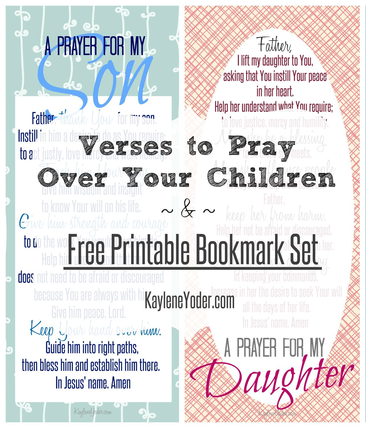 free printable bookmark set of prayers for son, daughter and parents