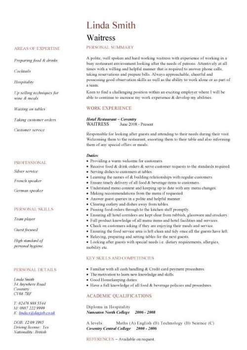 Hospitality CV templates, free downloadable, hotel receptionist - waitress resume description