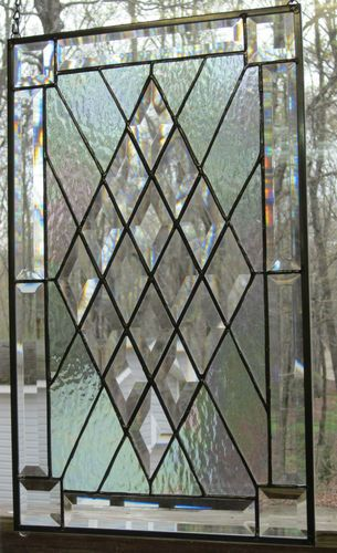 Beautiful Iridescent Diamond Comtemporary Stained Glass Beveled