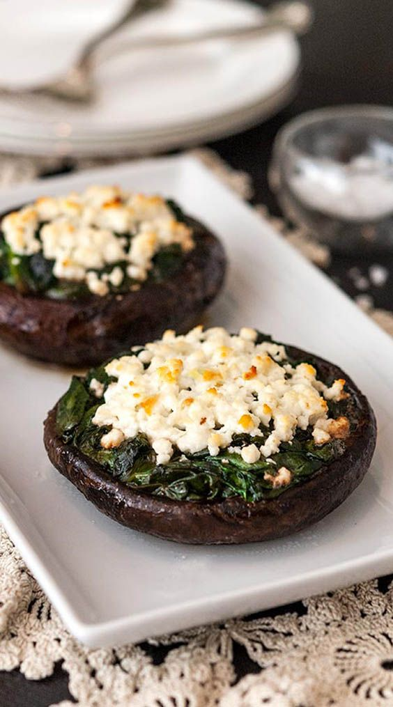 stuffed portobello mushrooms with spinach and feta  recipe in 2020  stuffed mushrooms spinach