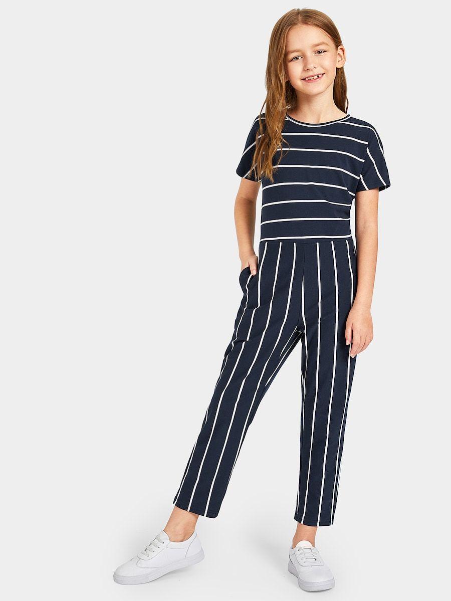 Girls Slant Pocket Mixed Striped Jumpsuit   SHEIN   Jumpsuits for girls,  Striped jumpsuit, Jumpsuit fashion