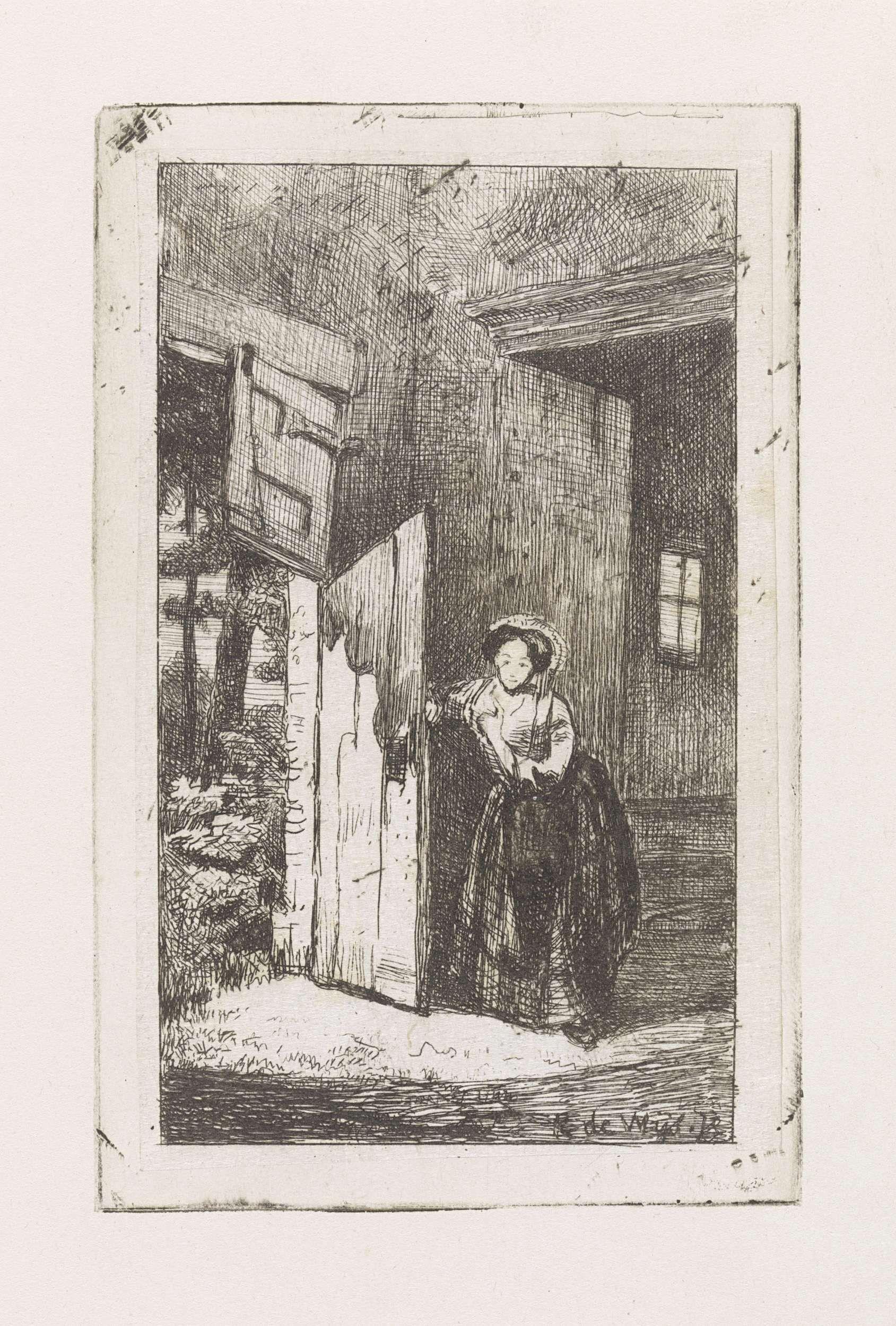 Kornelis Jzn de Wijs | Vrouw opent deur, Kornelis Jzn de Wijs, 1842 - 1896 |