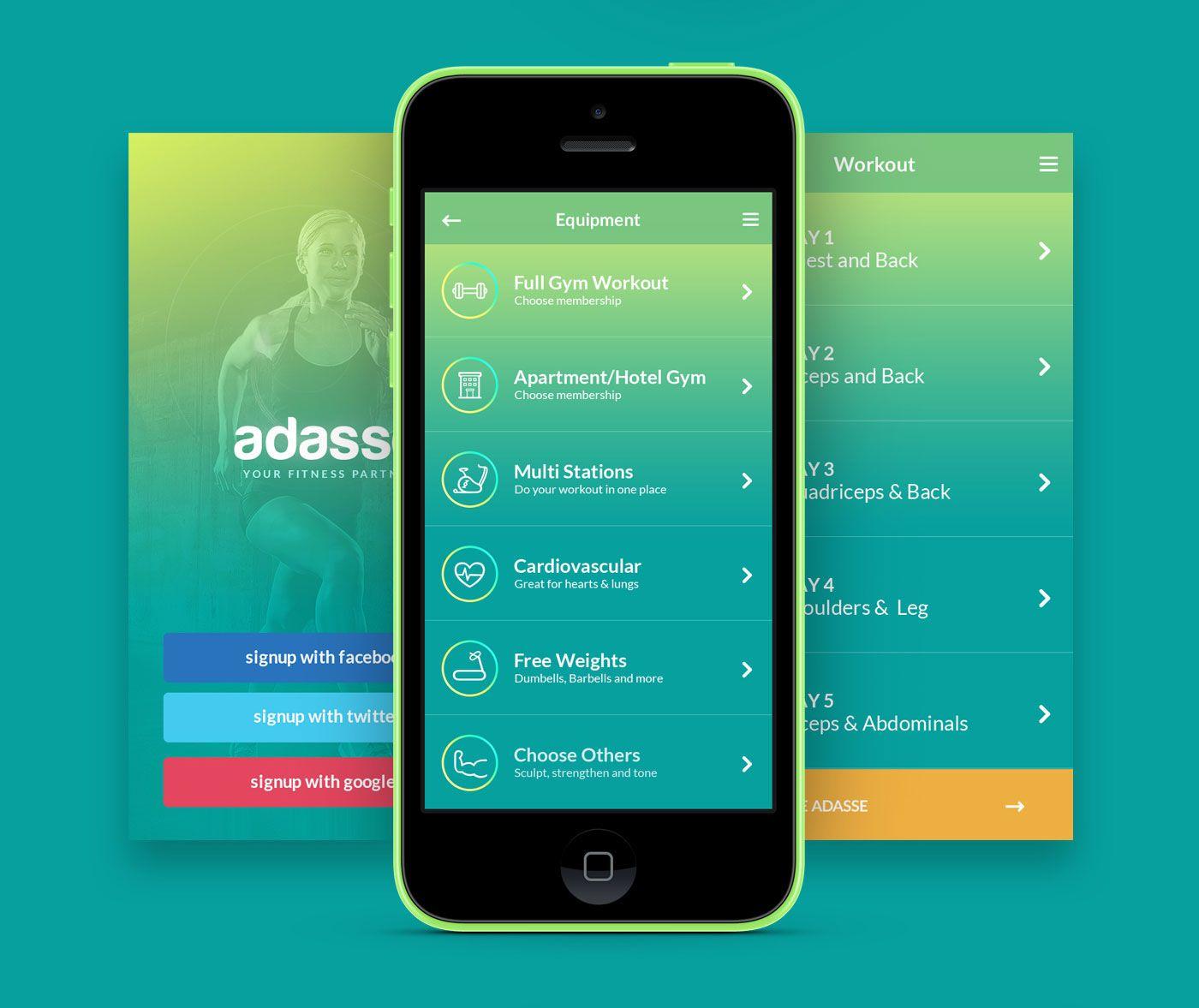 Adasse Gym workout mobile app on Behance