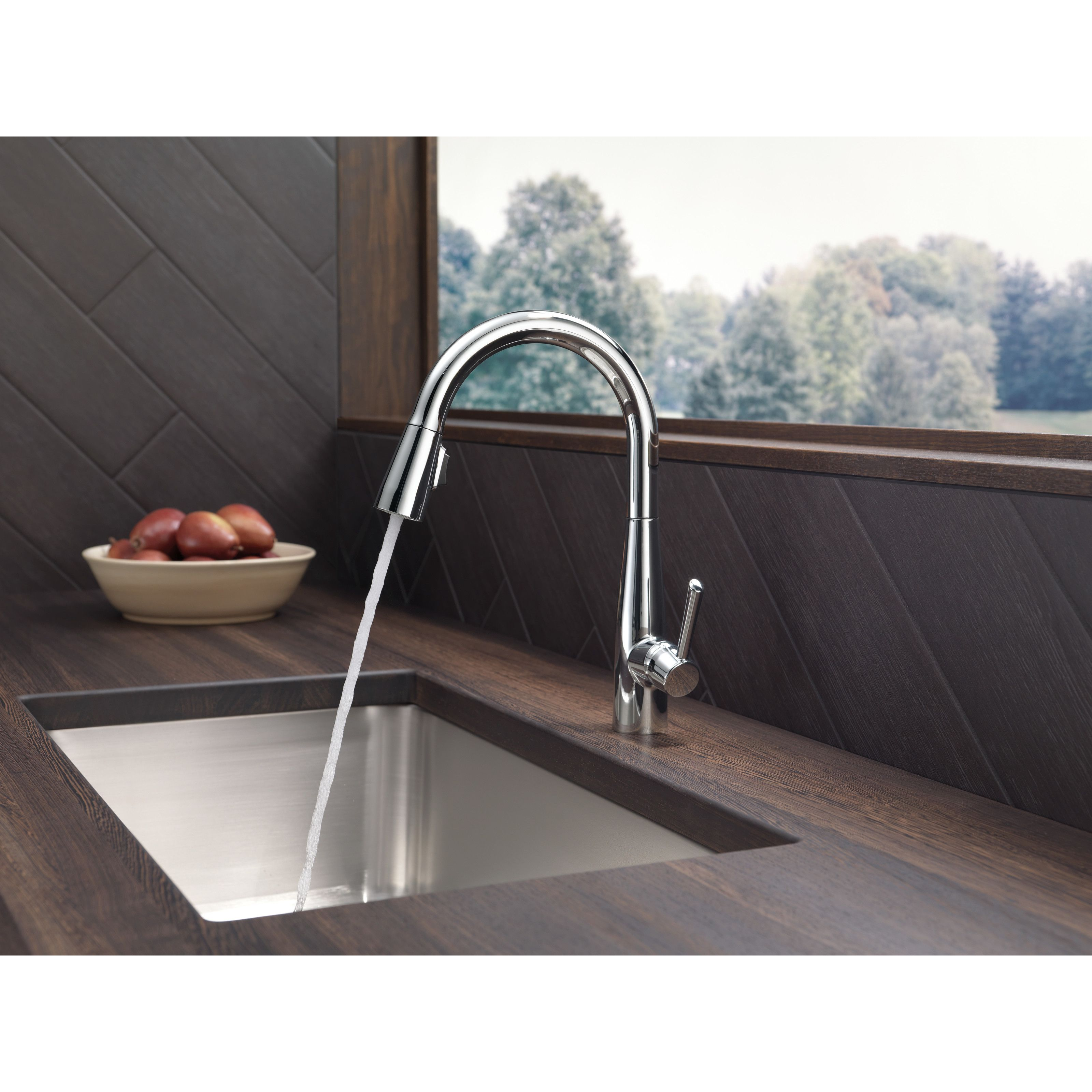 delta essa single handle pull down standard kitchen faucet amp ...