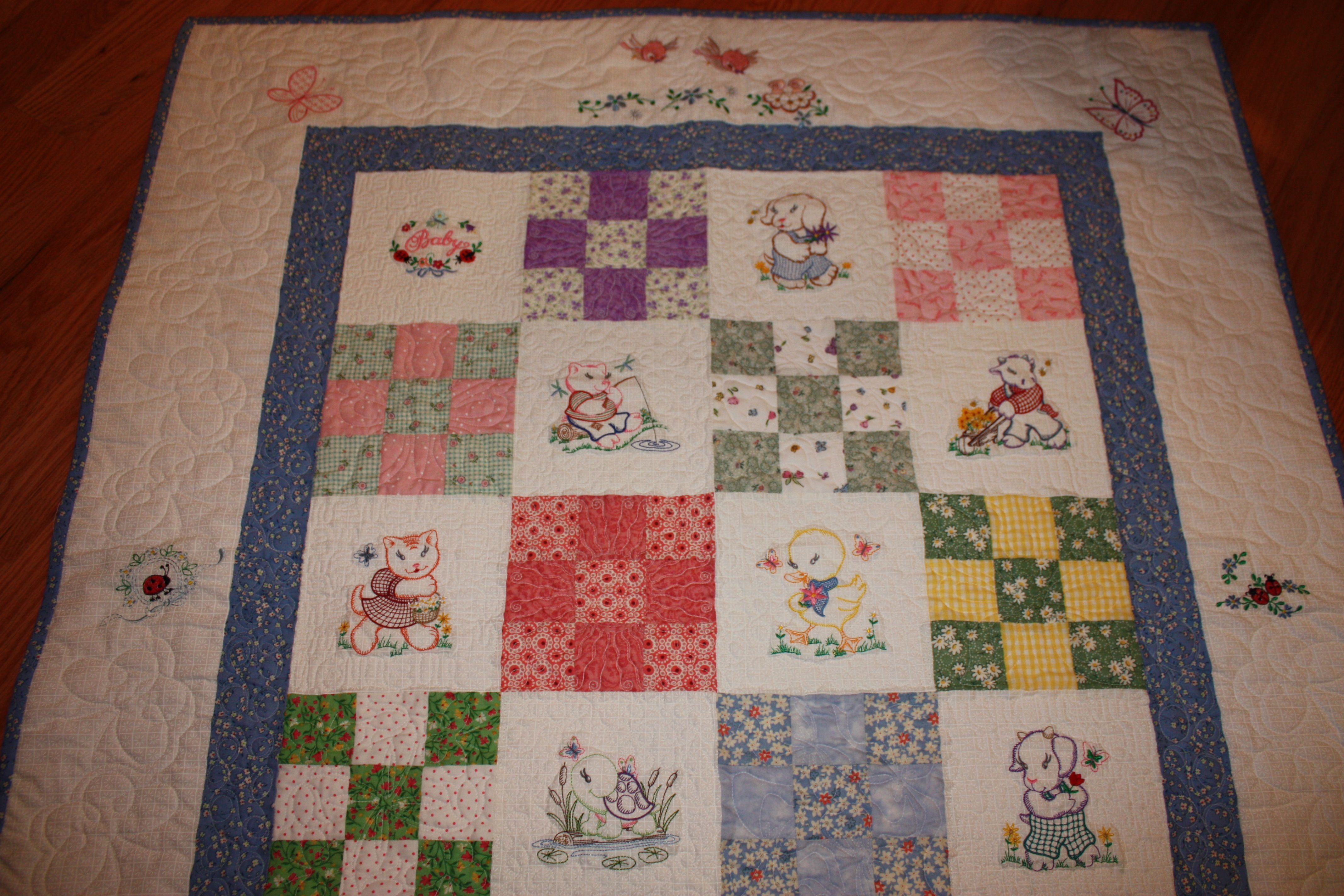 Set of 3 Machine Embroidered Floral Quilt Blocks 9 inches