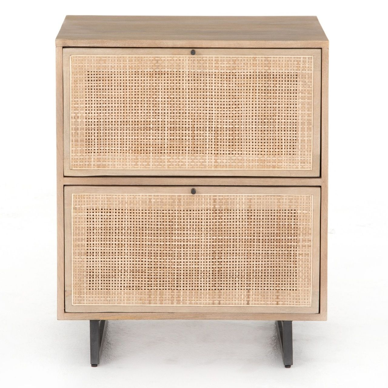 Audrey Woven Cane 2 Drawers Filing Cabinet Filing Cabinet Brown Wood Coastal Style Furniture