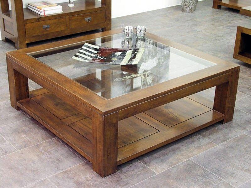 Table Basse Carree Bois Et Verre Table Decor Living Room Sofa