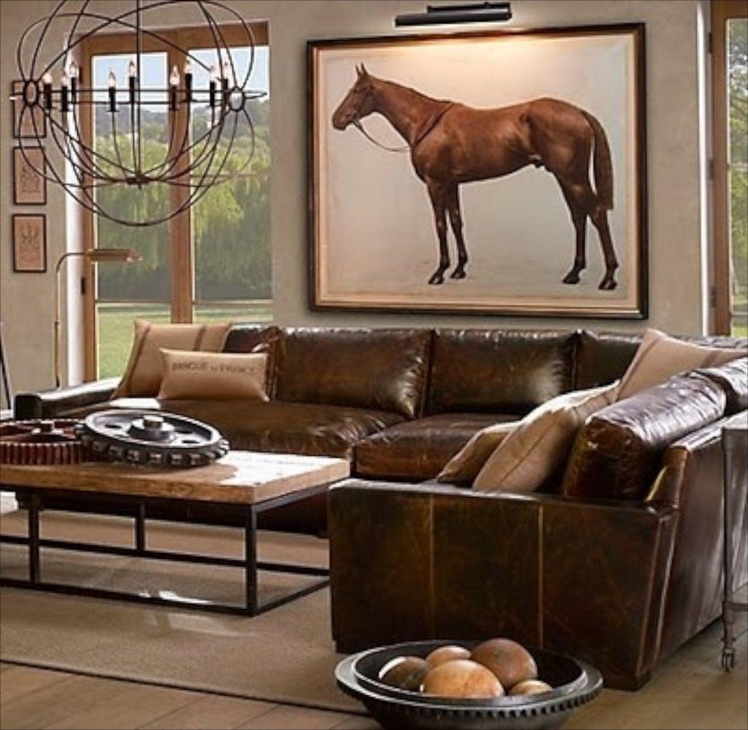 Masculine leather equine art love interiores neutros