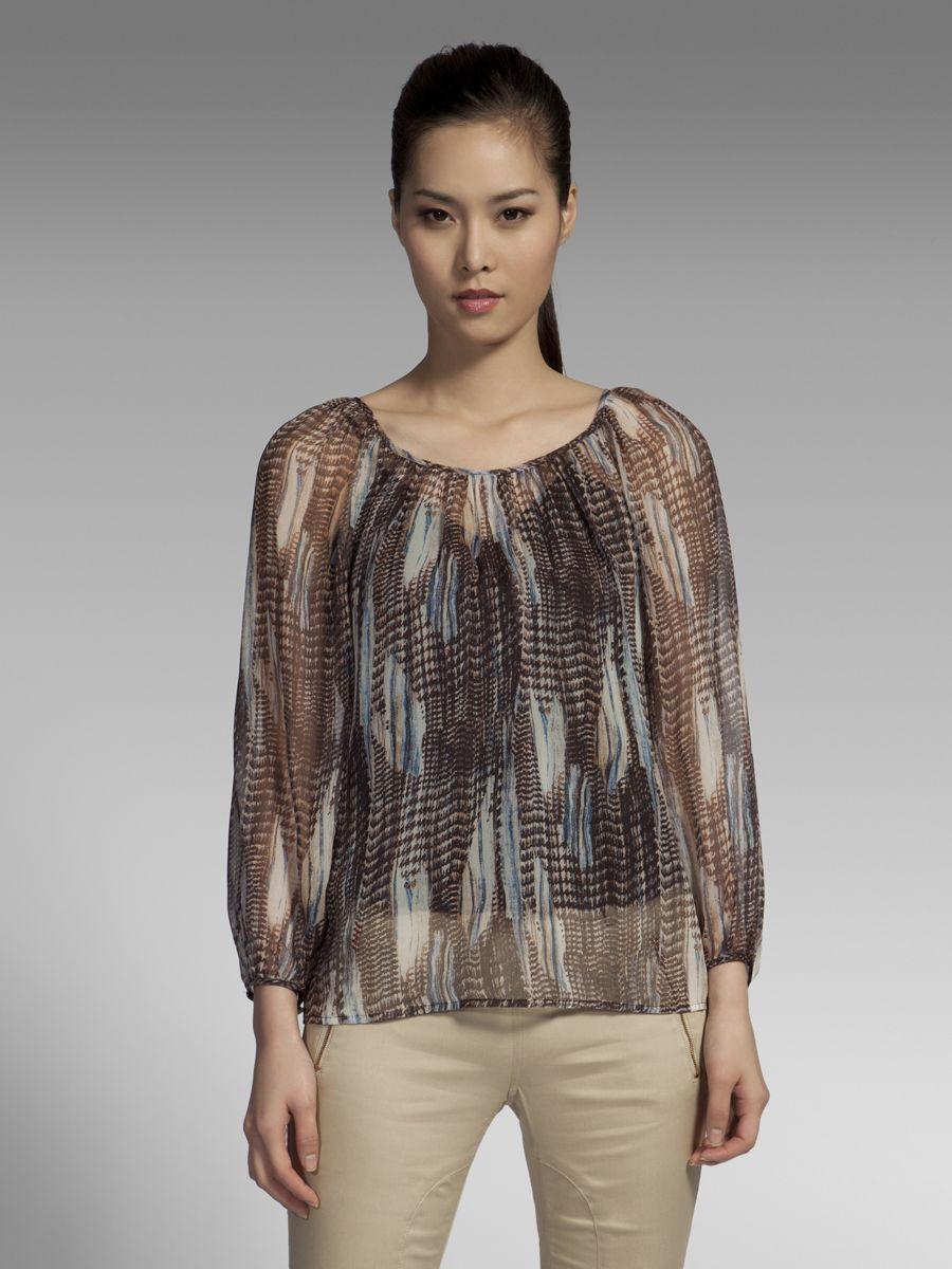 Shanghai Tang Pied de Phoenix printed silk georgette blouse, $336.00