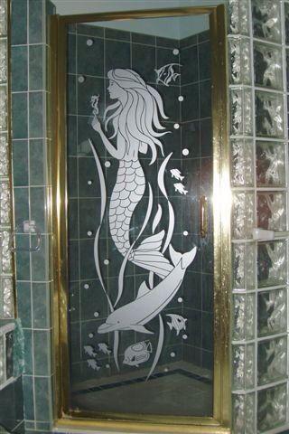 Mermaid Shower Door Stencil Shower Tile Designs Etched