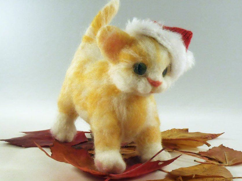 Marmalade - Ginger kitten. Needle felted animal. Wool felted soft sculpture. Collectable art dolls & figurines #gingerkitten