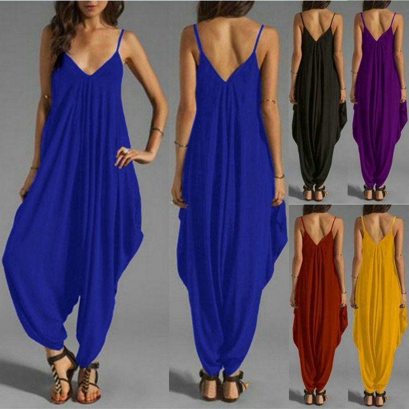 545913440d3bd Women's V Neck Loose Baggy Fit Summer Beach Party Jumpsuit Romper Harem  Trouser